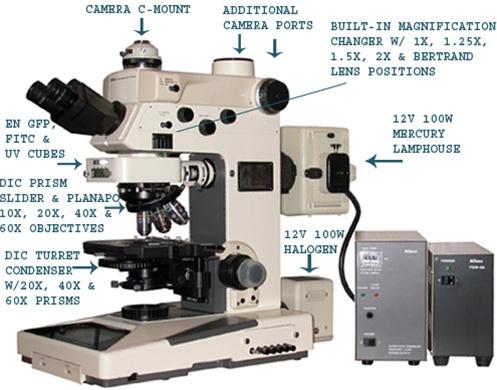 Nikon Microphot Fxa Fluorescence Amp Dic Nomarski Microscope