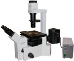 OLYMPUS IX50 INVERTED FLUORESCENCE & PHASE CONTRAST TISSUE CULTURE MICROSCOPE W/SIDE CAMERA PORT & 3 CUBES